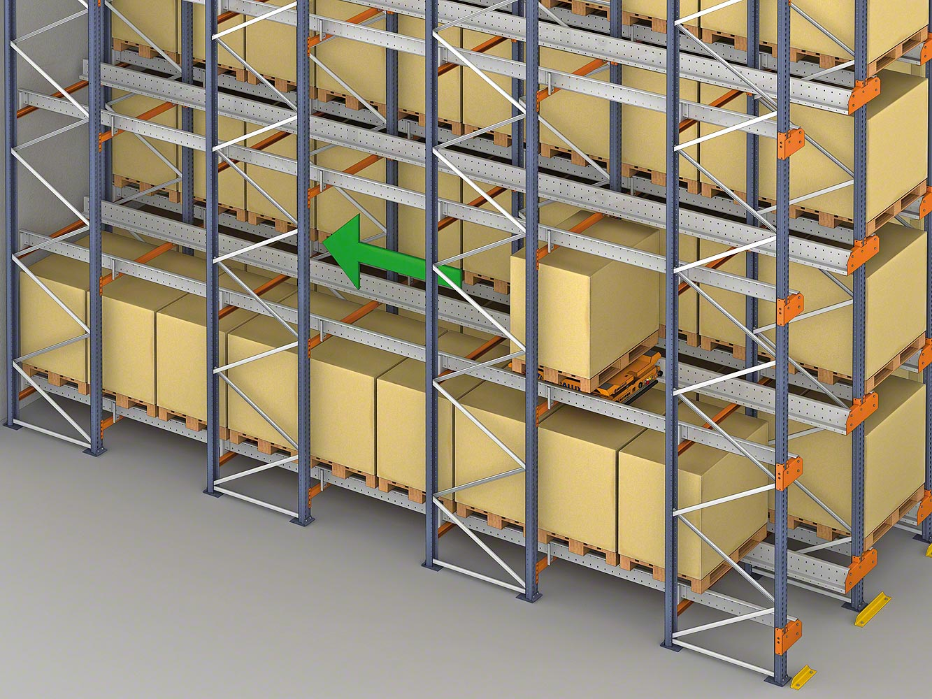 Pallet Shuttle slides the pallets horizontally to the nearest available space