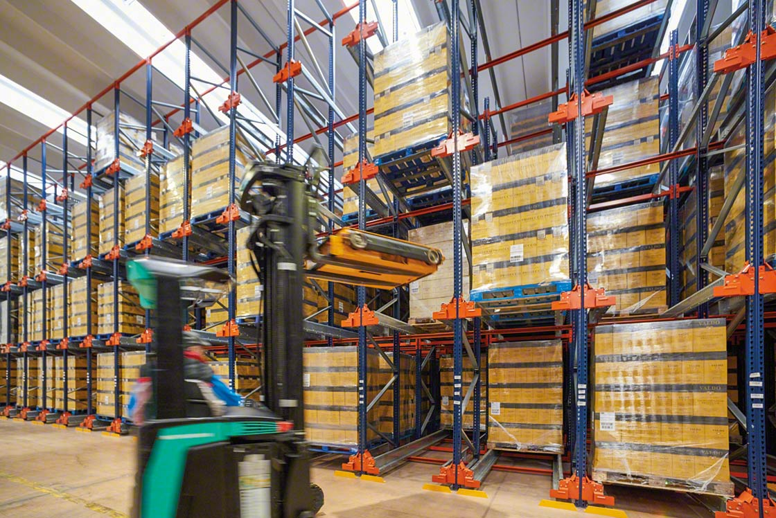 In a bonded warehouse, the Pallet Shuttle system houses many products in a small space