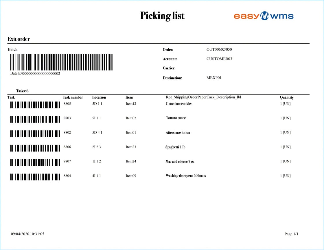 Example of a picking list generated by the Easy WMS warehouse management system
