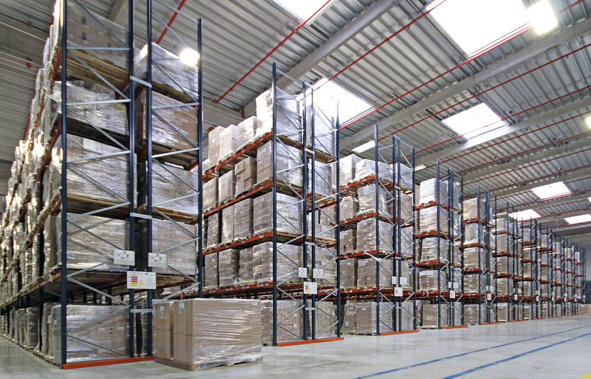 Industrial racks in a warehouse