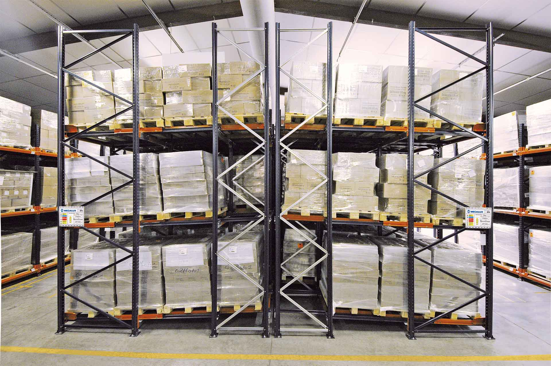 Push-back racks installed in a warehouse as a flow racking system