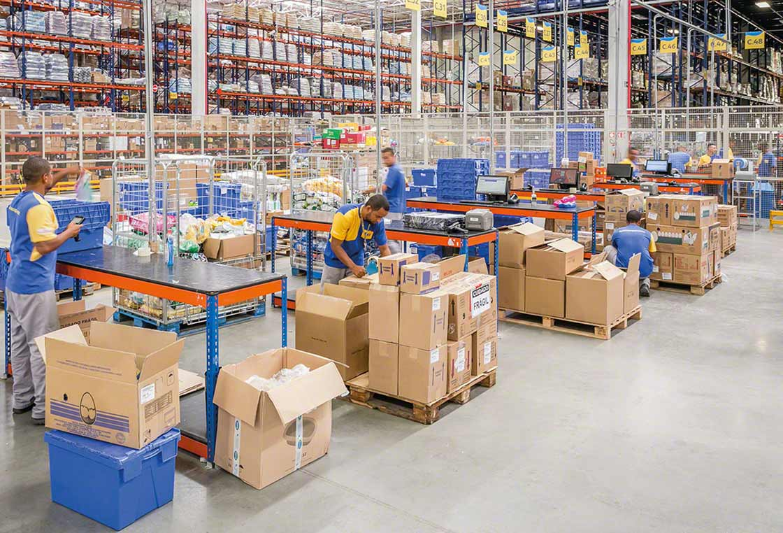Employees working as a team in a warehouse