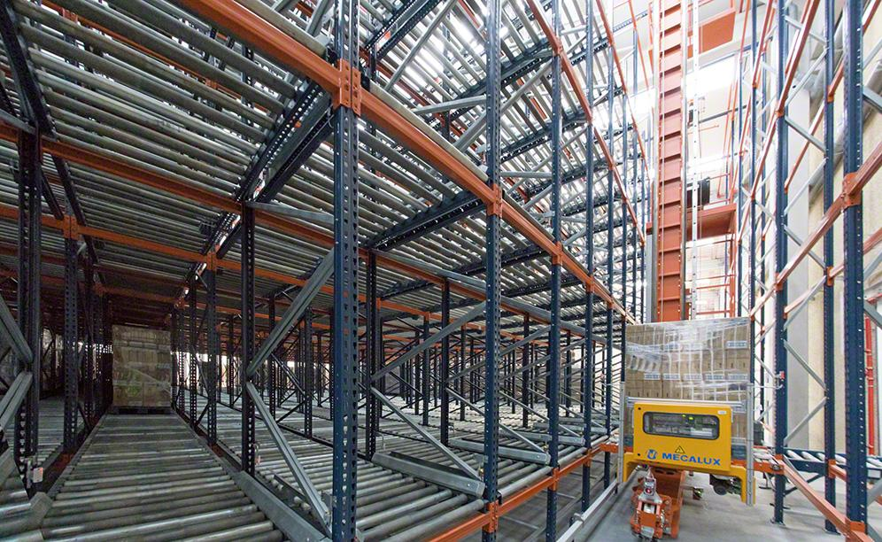 Flow racks hold chemical products and operated by a stacker crane