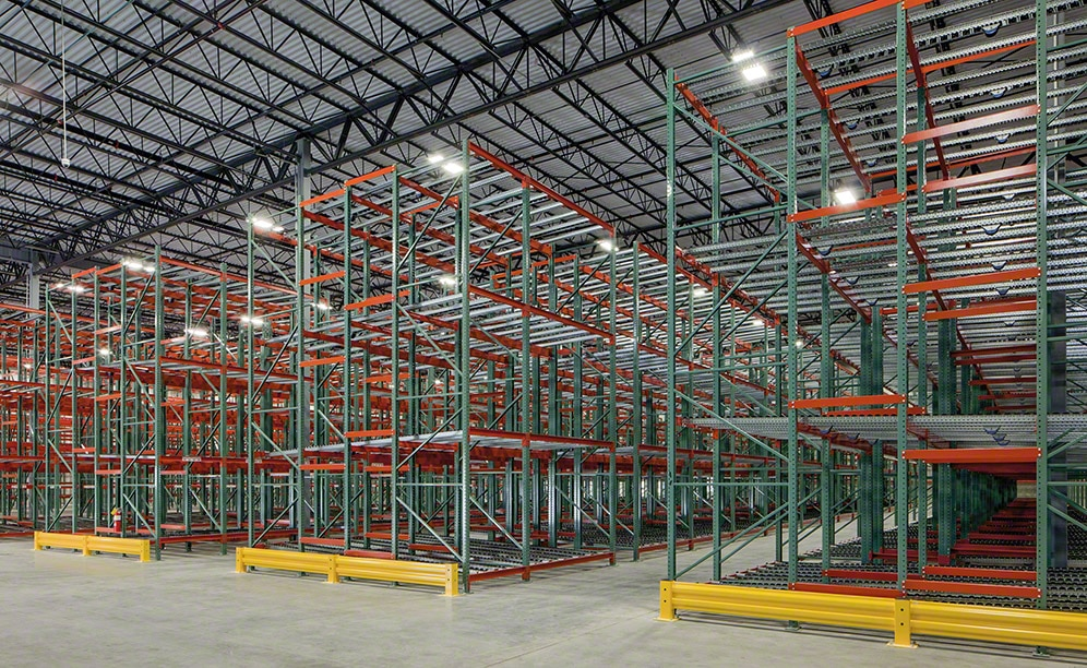 Atlantic Rack and Interlake Mecalux provided frames that are 22 ft high x 42 in. wide and racking with 237 bays that are 8 ft wide and 12 bays that are 12 ft wide