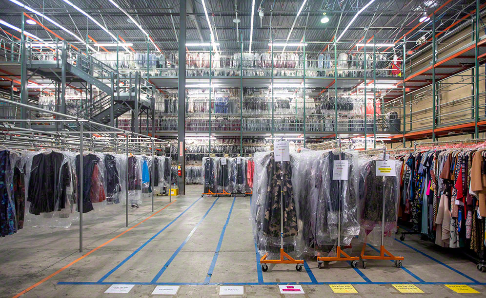 ABCO Systems installed multi-level pick modules featuring Interlake Mecalux rack specifically designed for hanging garments