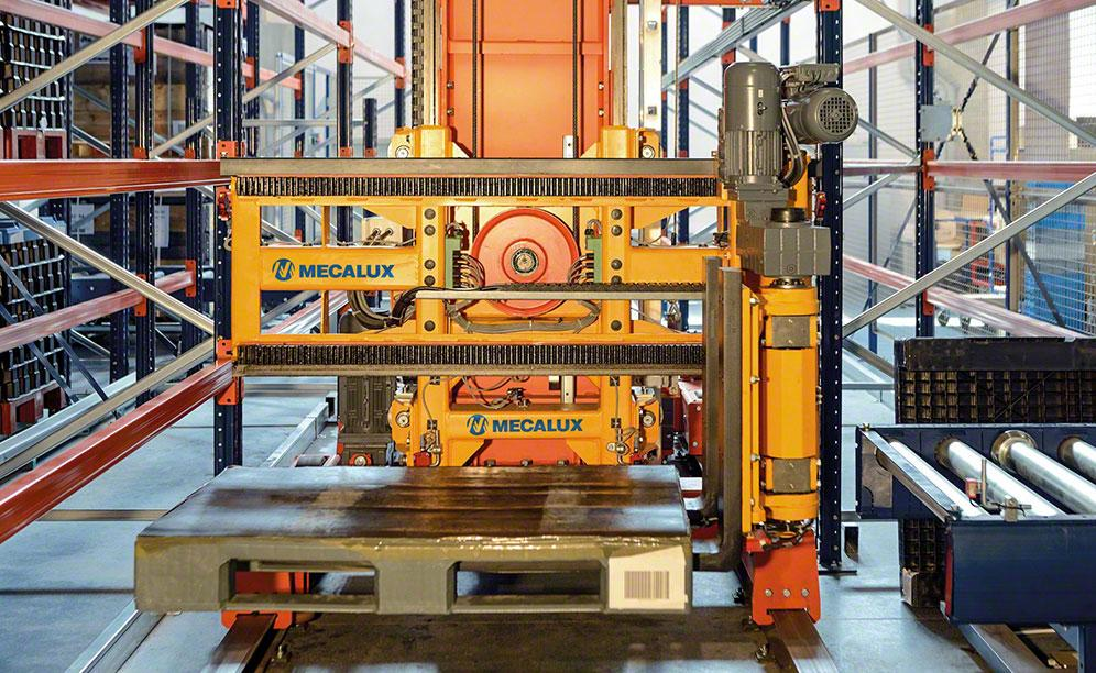AS/RS trilateral stacker crane in the SMA Magnetics warehouse