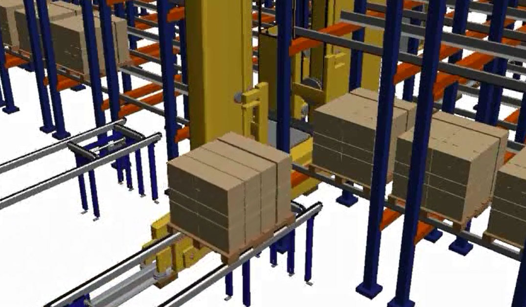 Animation Of A Pallet Shuttle System With Stacker Crane