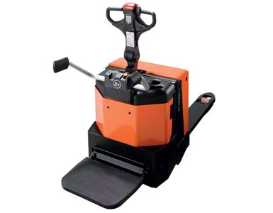 Electric rider pallet truck with fold up platform
