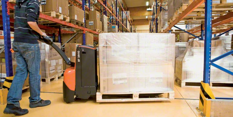 The motors in the electric pallet jack are used to both move and raise the pallet off the floor.