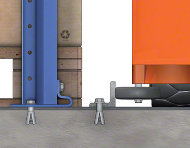 """The pallets sit directly on the floor. An """"L"""" shaped rail attached to the floor acts as the guide."""