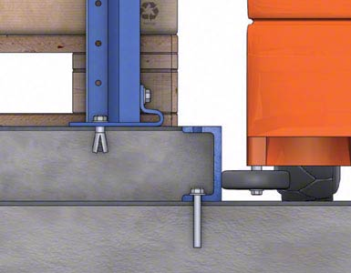 The space between the guides for the aisles is filled with concrete, forming an island on which the racking units sit.