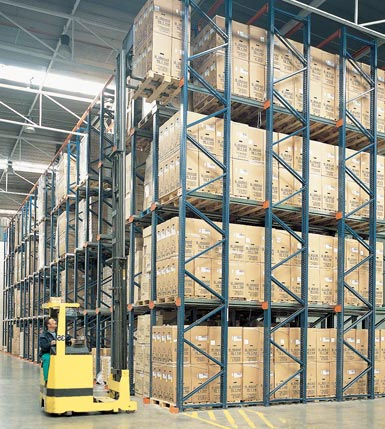 Image of a drive-in pallet system.