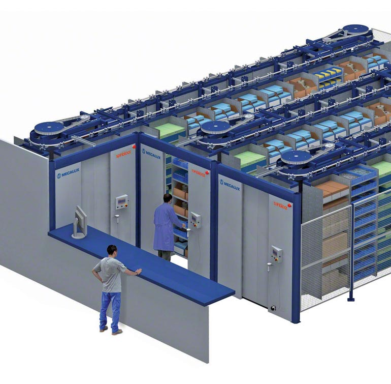 Storage system with horizontal carousel.