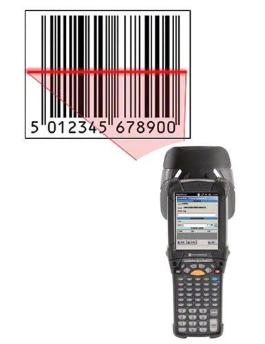 A device reads the barcode and informs the WMS