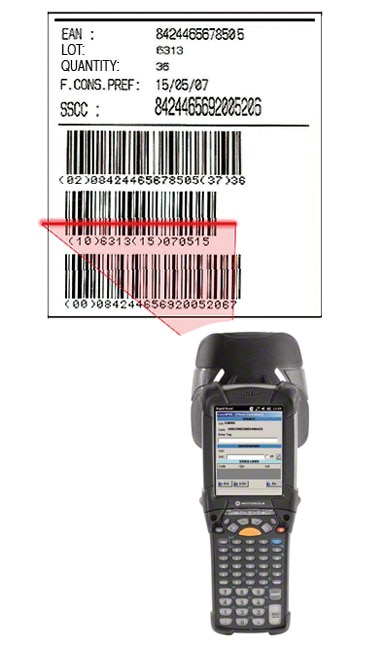 Example of an EAN-128 warehouse barcode label that identifies the pallet, the product it contains and the characteristics of said product.