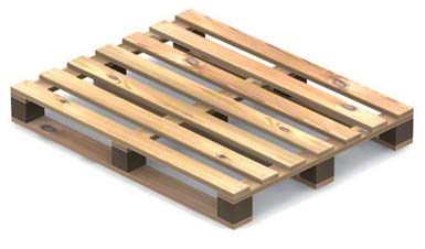 Pallet with four openings, double-sided, not reversible (single use).