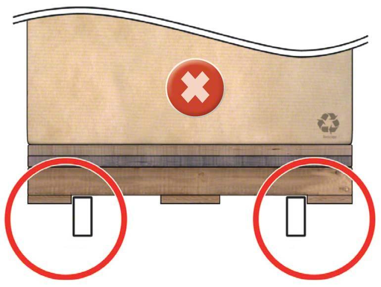 El larguero queda muy pegado a la tabla inferior y la carretilla, al coger la paleta, puede empujarla y deformar el larguero.