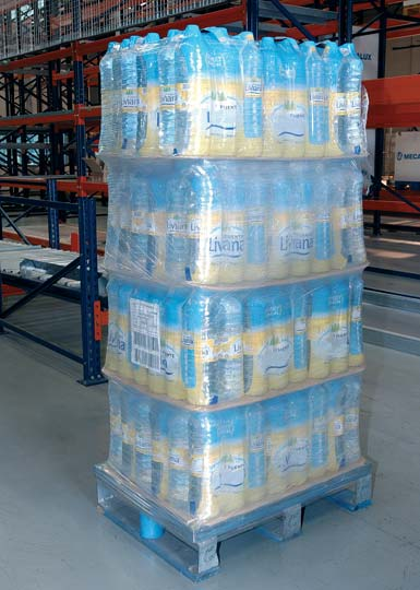 Close up of a pallet loaded with bottled water