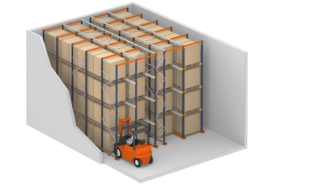 Drive-in pallet rack system in action