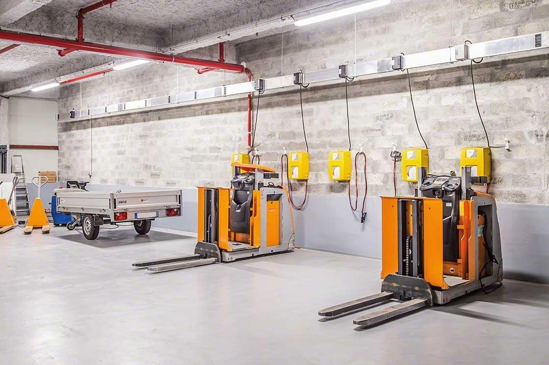 The warehouse zone for equipment maintenance must comply with all safety standards.