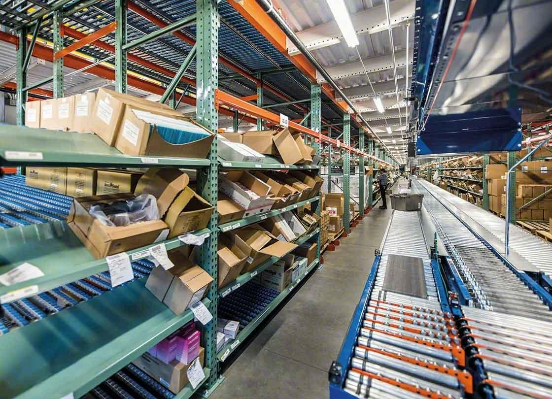 Picking zone supplemented by a box conveyor