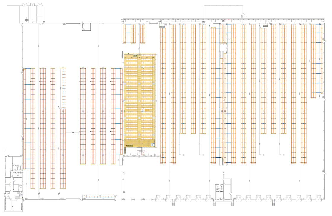 Layout of a zoned warehouse with storage, picking and cantilever racking areas