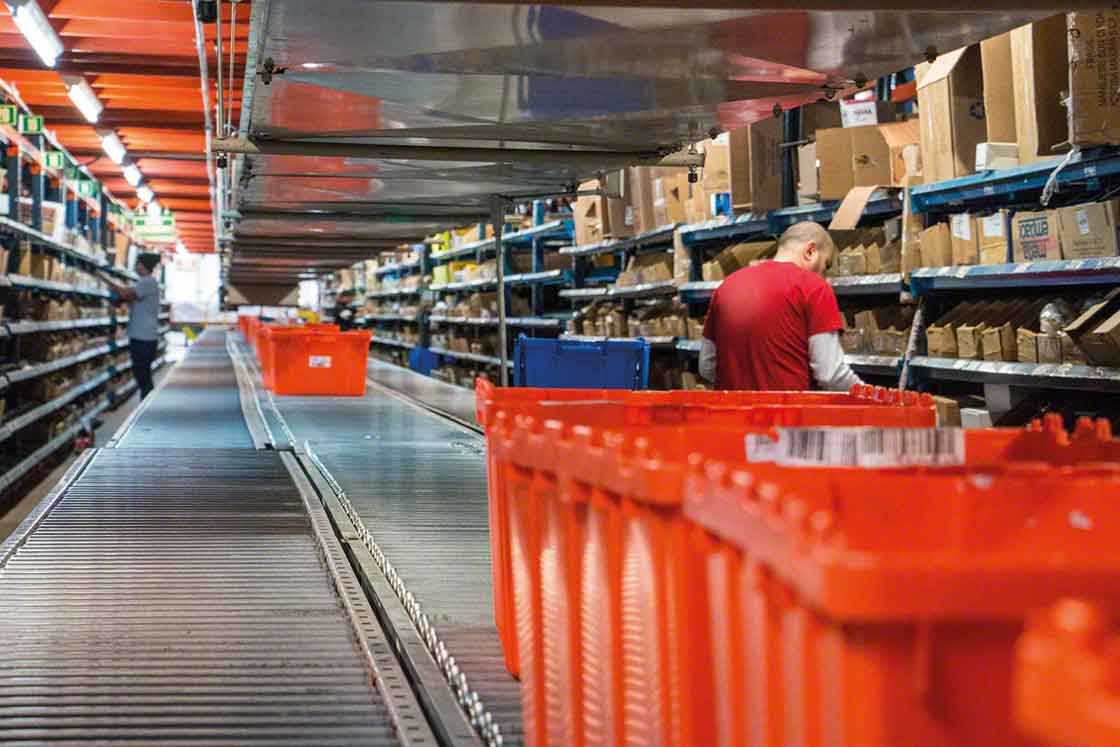Spare parts installations can use shelving for picking and conveyors for SKUs with a very high turnover