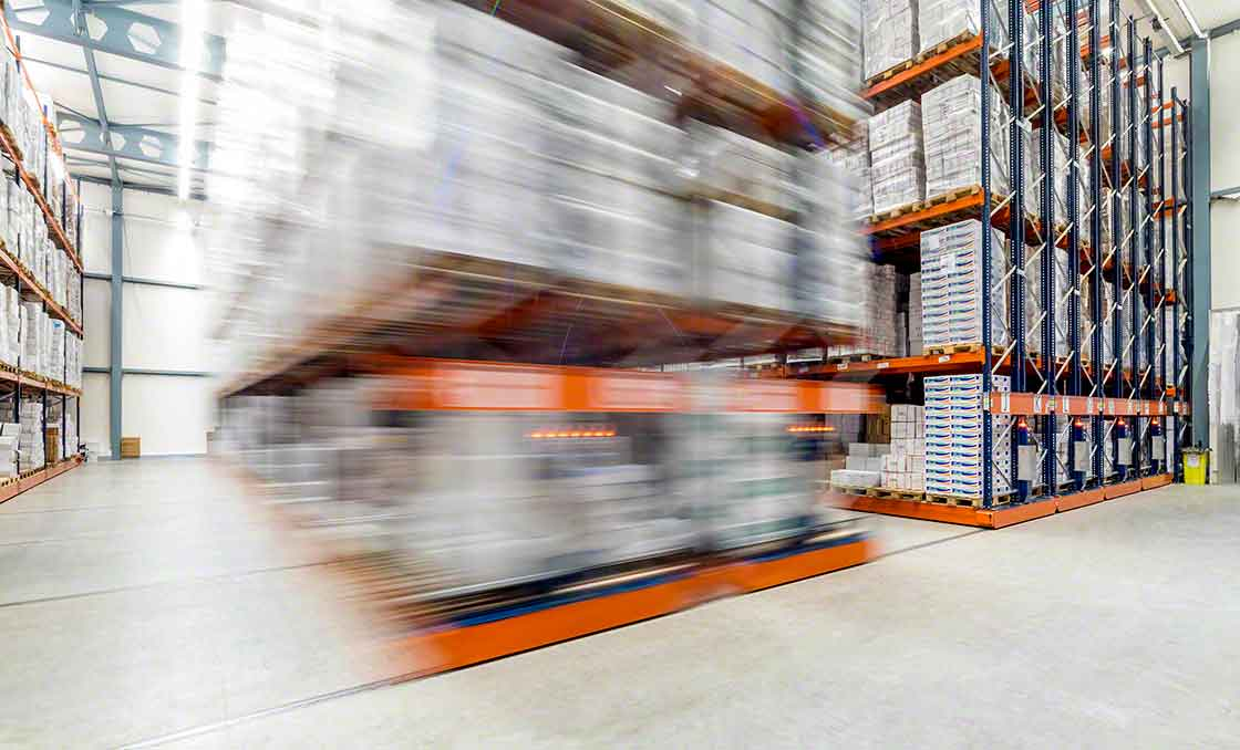 Mobile racks save aisle space, but accessibility to SKUs is limited