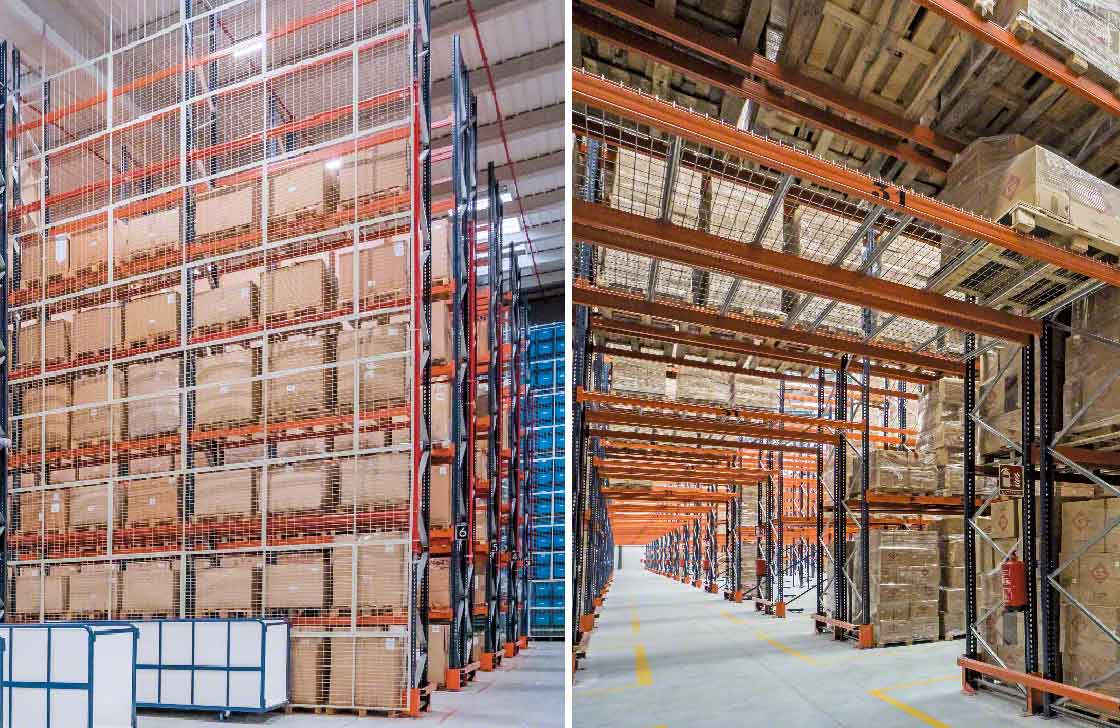 Fall-prevention mesh is fixed to the back of the pallet racks or above cross-passages