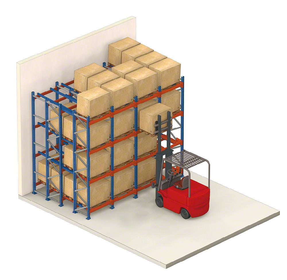 Forklift inserts pallet into push-back racking