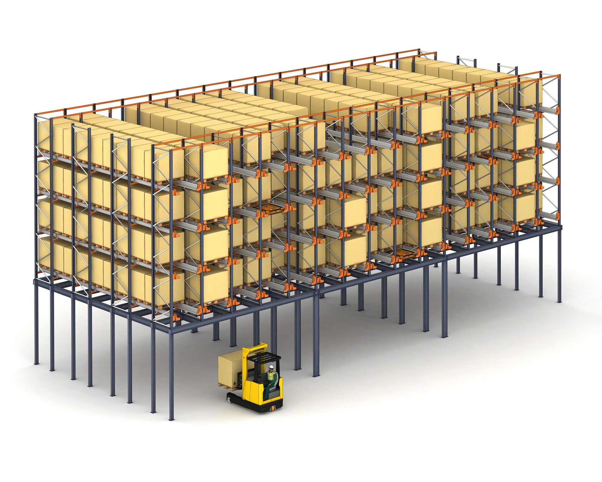 In warehouses with limited space, the Pallet Shuttle system can be installed on a mezzanine floor to maximize the surface