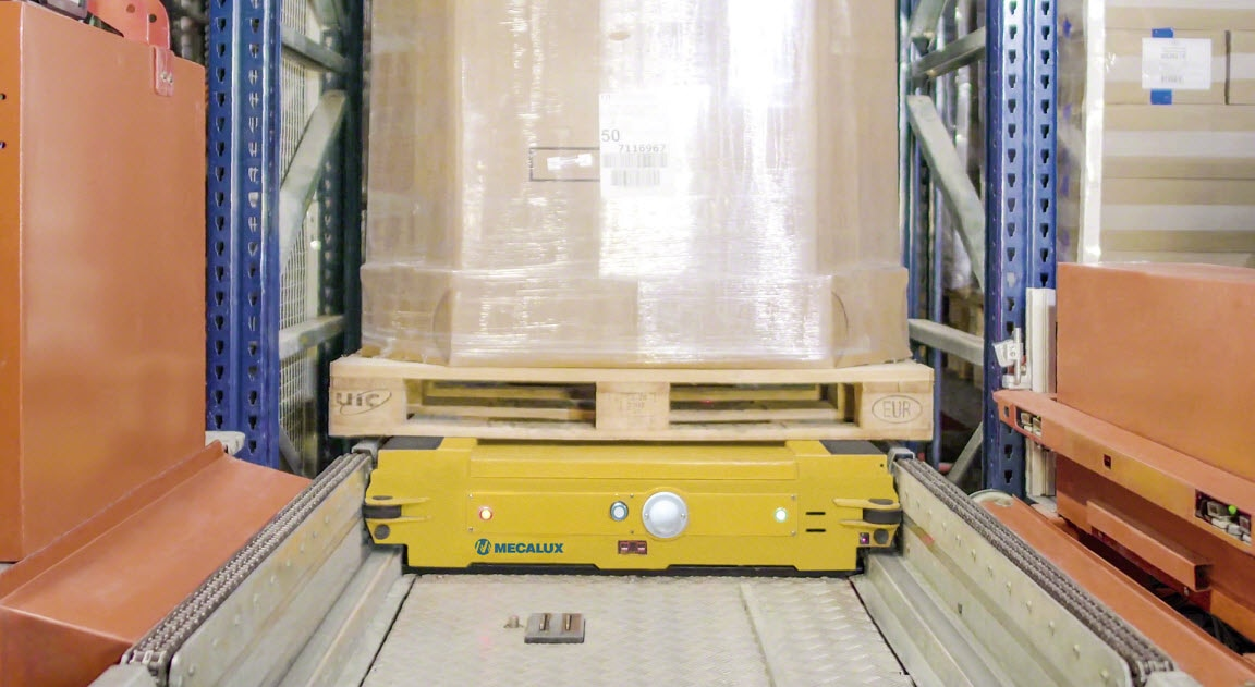 Automated Pallet Shuttle System with transfer cars in the Alinatur warehouse