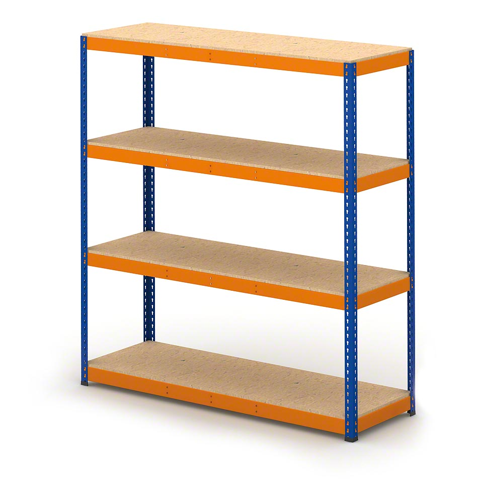 Boltless shelving with chipboard decking