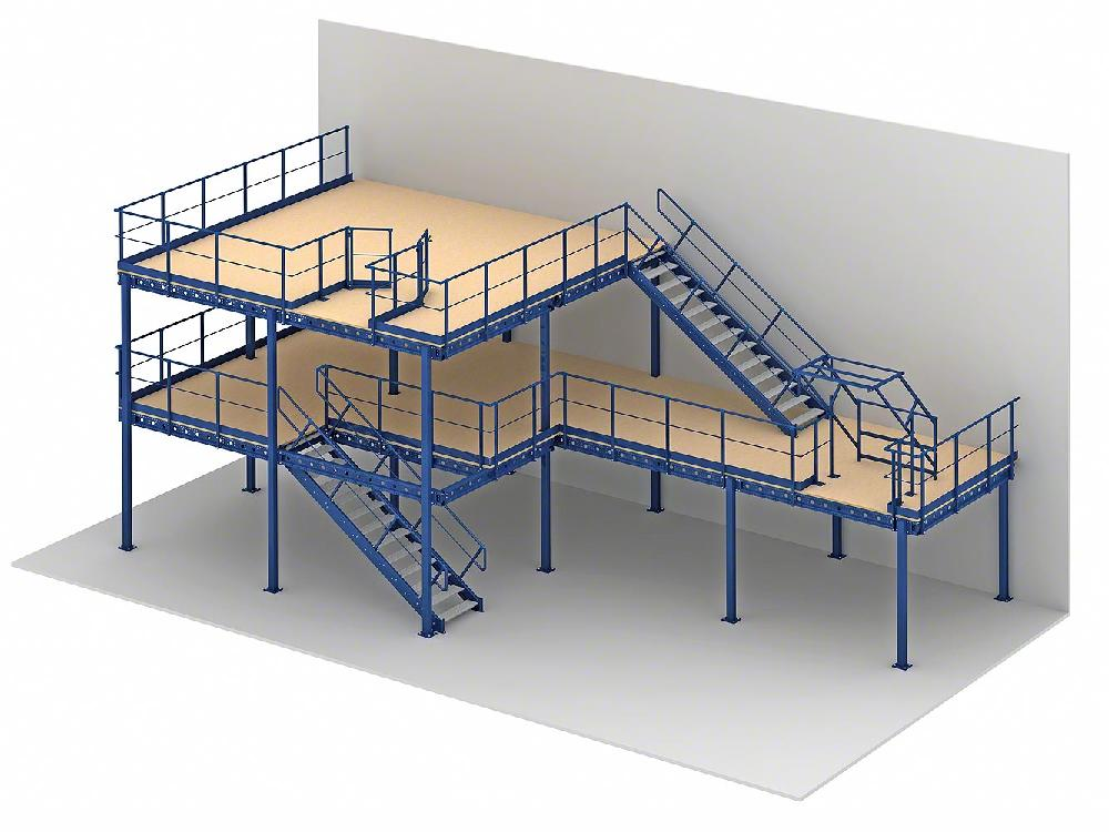 Two level mezzanine with up and over gate, staircases and a third-level safety swing gate.