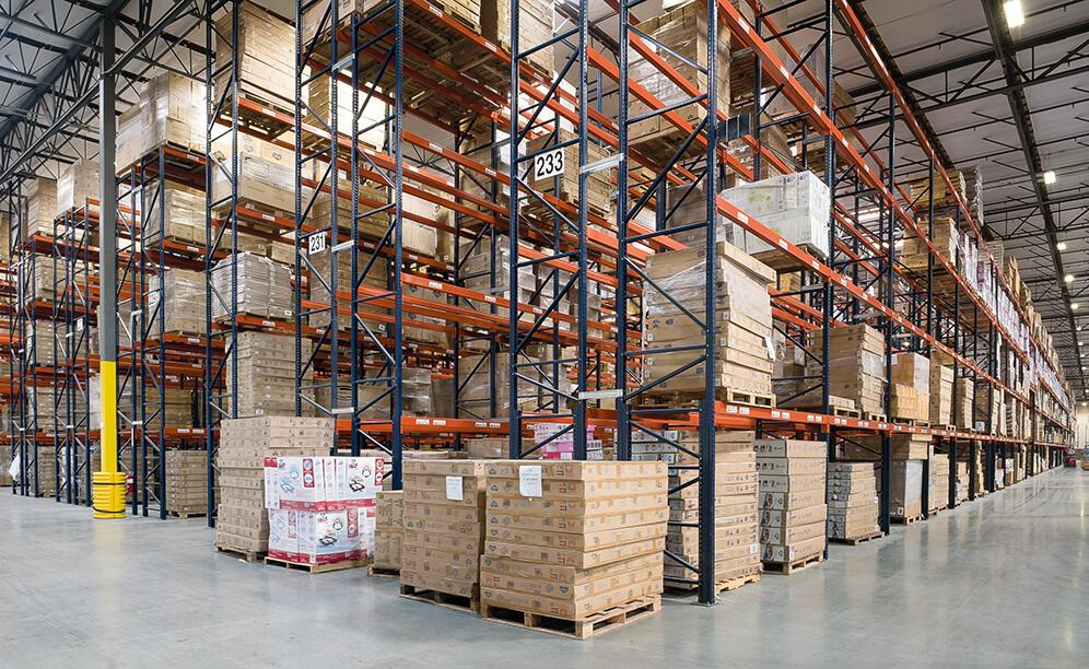 Delta Children's new warehouse features 47 aisles of selective pallet rack that can store 30,606 pallets in a 6.66 acre space
